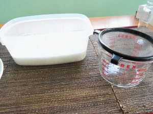 Pour through strainer